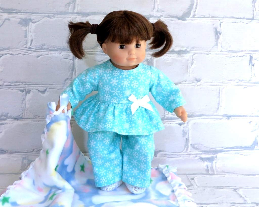 Handmade Blue Snowflake Flannel Pajama Set with Slippers for 15 inch Doll such as Bitty Baby