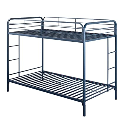 Amazon Com Bunked Bed Frame Quick Lock Twin Over Twin Metal Bunk