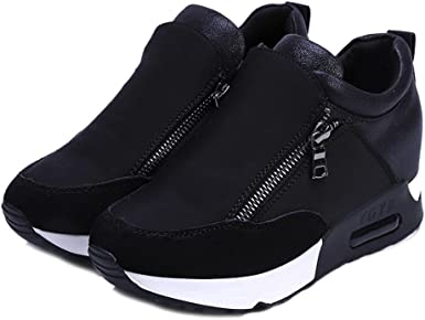Zapatillas Deportivas Con Plataforma De Cuero Artificial Impermeable Al Aire Libre Para Correr Zapatos De Mujer Con Cuña Interior Sneakers Con Air