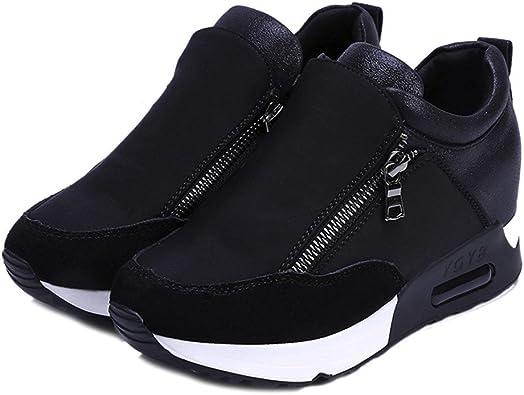 Zapatillas Deportivas Con Plataforma De Cuero Artificial Impermeable Al Aire Libre Para Correr Zapatos De Mujer Con Cuña Interior Sneakers Con Air Tacón: Amazon.es: Zapatos y complementos