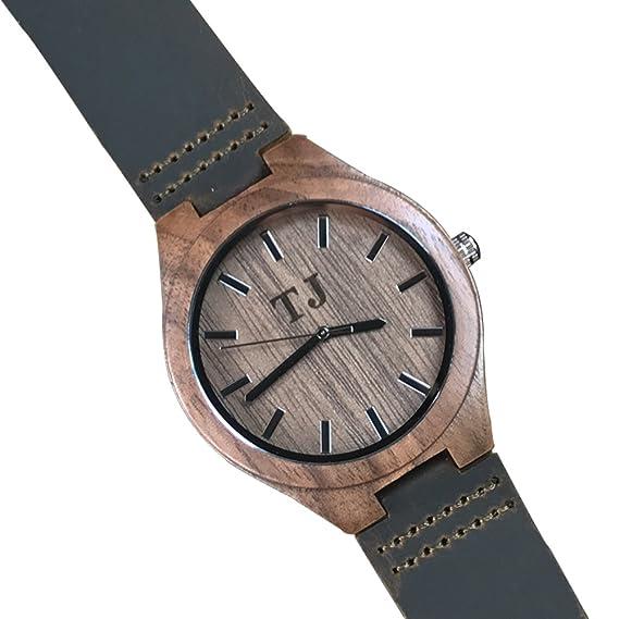 Reloj de Madera Natural con Banda de Piel Negra Grabado Personalizado para Regalos creativos: Amazon.es: Relojes