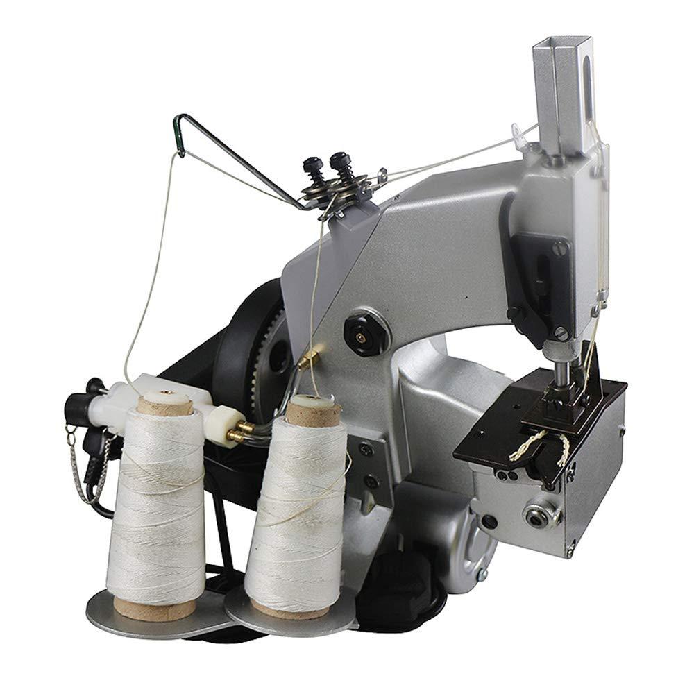 Hanchen Máquina de Coser Bolsas Portátil Máquina de Embalaje Eléctrico para Cerrar Bolsas con Dos Agujas/Dos Hilos/Cortador