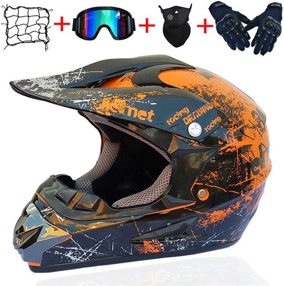 ACC Motocross Casco Integral Set, la Motocicleta del Camino Casco Protector con los Guantes Gafas máscara del Casco Cubierta del Acoplamiento para Adultos