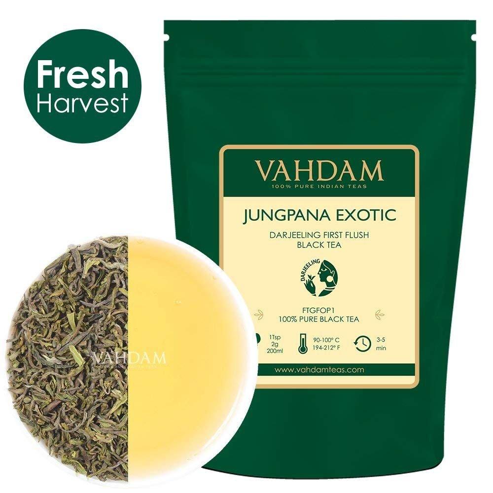 Jungpana Exotic Darjeeling Black Tea Leaves, Exclusive BlackTea Loose Leaf - Hand-Picked, A Perfect Everyday Loose Leaf Black Tea, 1.76oz (25 Cups)