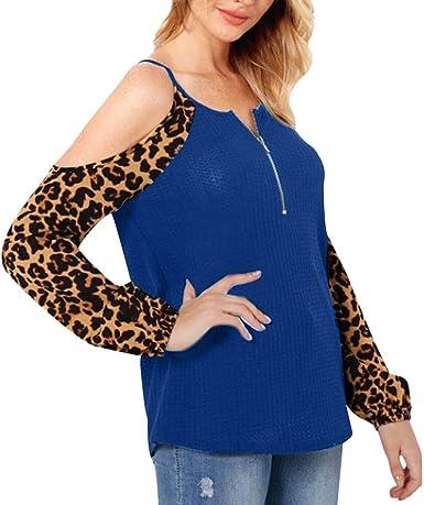 FAMILIZO_Camisetas Mujer Manga Largo Otoño Camisetas Mujer Verano Blusa Mujer Sport Tops Mujer Casual Camisetas Mujer Originales Manga Larga Escotado por Detrás: Amazon.es: Ropa y accesorios