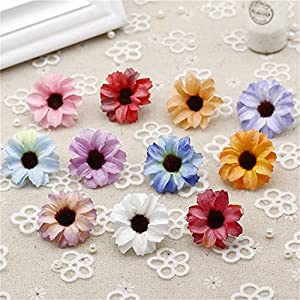 Silk Artificial Flowers Fake Flower Heads in Bulk Wholesale for Crafts Shiny Daisy Head Wedding Home Decoration Party Decor DIY Scrapbooking Chrysanthemum Accessories 50pcs 21