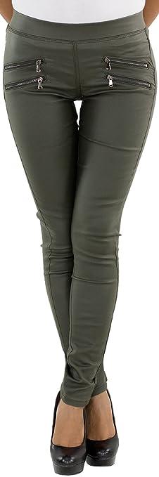 Damen Kunstlederhose Hose Lederlook Skinny Kunstleder Röhre Biker Hüfthose Grün Khaki