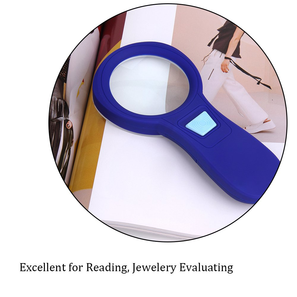 Magnifying Glass with 10 LED Lights Retro Shaw 4X Handheld Illuminated Glass Lens Magnifier for Reading Maps Office Hobbies and Crafts Lighted Jewelry Loupe - Blue