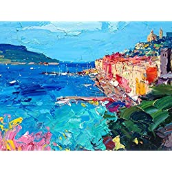 Portovenere Cinque Terre Italy Canvas Art Prints Italy of Seascape Wall Art Sea Flowers Home Decor Living Room Original Christmas Gifts Mother Women Friend Oil Painting Agostino Veroni Made in Italy