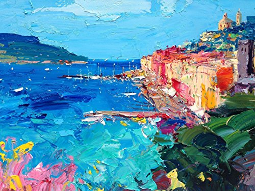 (Portovenere Cinque Terre Italy Canvas Art Prints Italy of Seascape Wall Art Sea Flowers Home Decor Living Room Original Christmas Gifts Mother Women Friend Oil Painting Agostino Veroni Made in Italy)