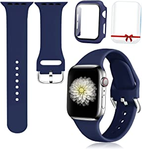Foranyo 3 in 1 Compatible with Apple Watch Bands 44mm 42mm 40mm 38mm, Soft Silicone Sport Replacement Strap Watch Band for Women & Men, Case with Glass Screen Protector for Series SE 6 5 4 3 2 1 (Navy, 44mm)