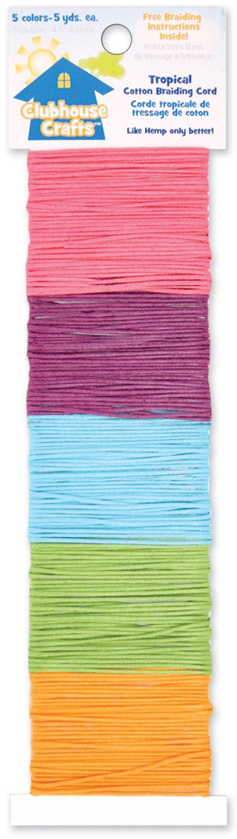 Advantus Clubhouse Crafts Cotton Braiding Cord-Tropical - 5yd Each of 5 Colors 27136856