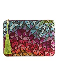 Otto Angelino Designer's Bohemian Clutch for Women - Multiple Slots Money, Cards, Smartphone - Ultra Slim (Colorful Mosaic)