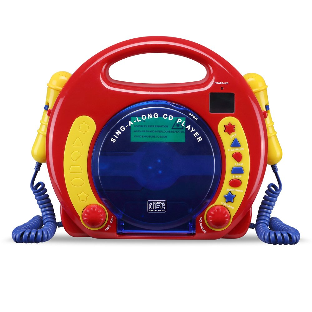 CD/USB/SD Portable Sing Along CD Player with 2 Microphones Anti Skip Protection LCD Display by O.Y.M (Image #1)