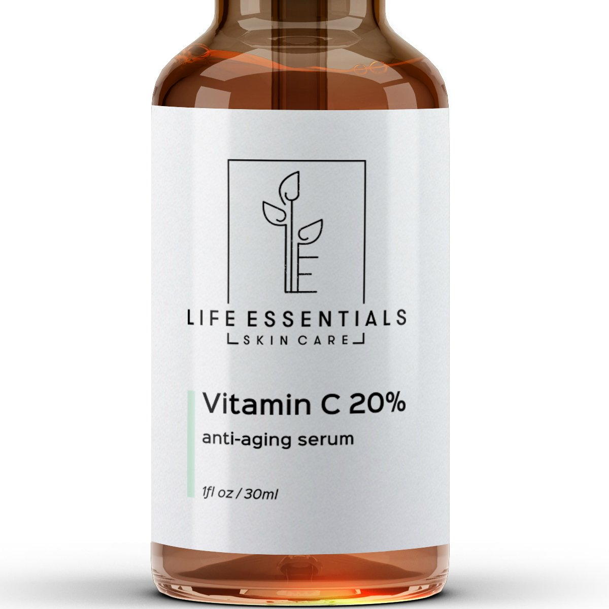 Vitamin C Serum for Face 20% - Hyaluronic Acid - Anti Wrinkle - Anti Aging Serum - Fades Dark Spots - Repairs Skin - Organic Ingredients Life Essentials Skin Care LE-101