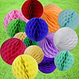 HEARTFEEL Pack of 30 Multi-color 2 inch Honeycomb Balls Tissue Paper Ball Honeycomb Decorations Tissue Paper Balls for Party Decoration wedding Bridal Shower Garden Decoration Baby Shower