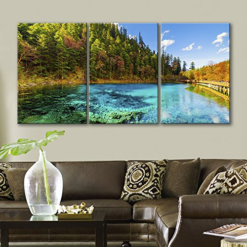 3 Panel Beautiful Landscape of Clear Lake and Trees During The Fall Season x 3 Panels