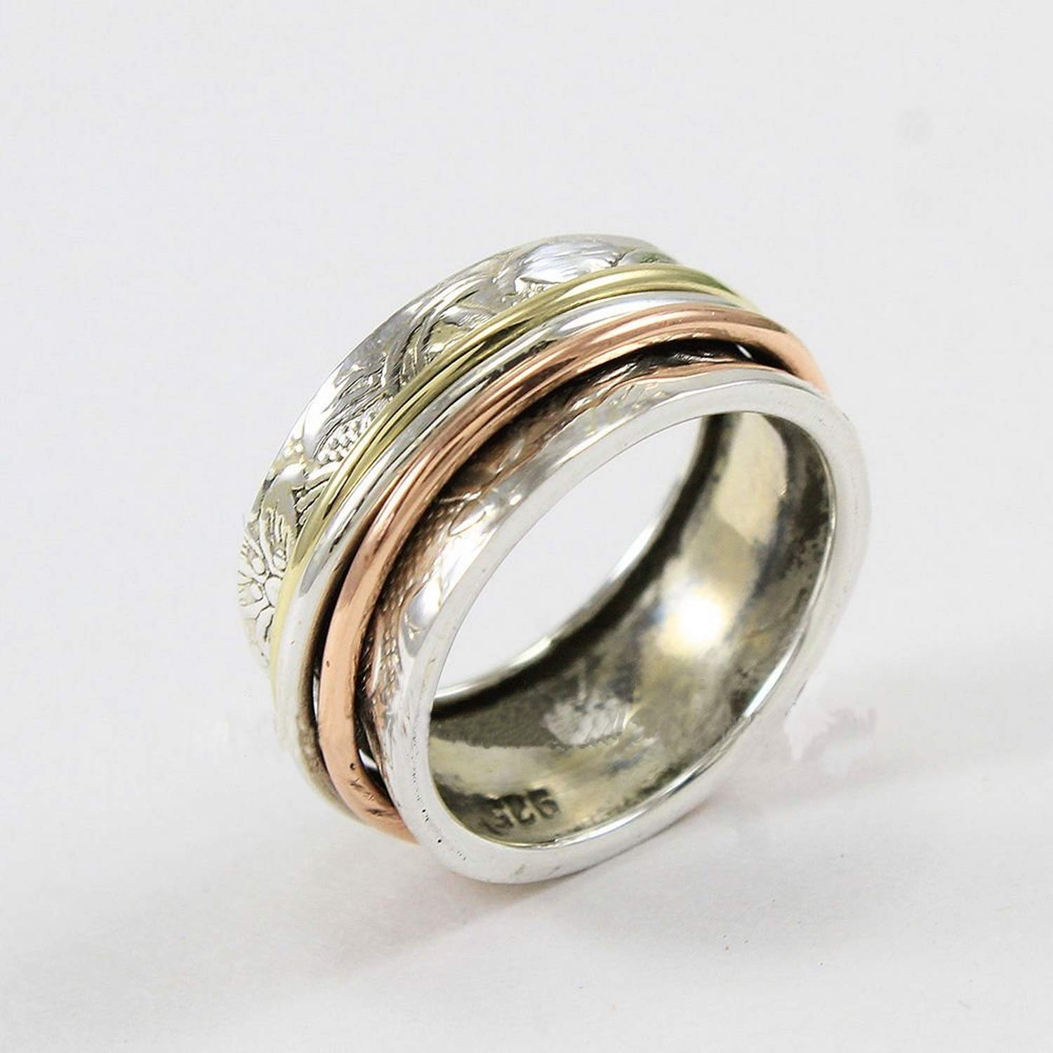 Statement Ring Meditation Ring Fidget Ring Rotating Ring Silver Spinner Ring Patterned Spin Ring Worry Ring Spinning Ring