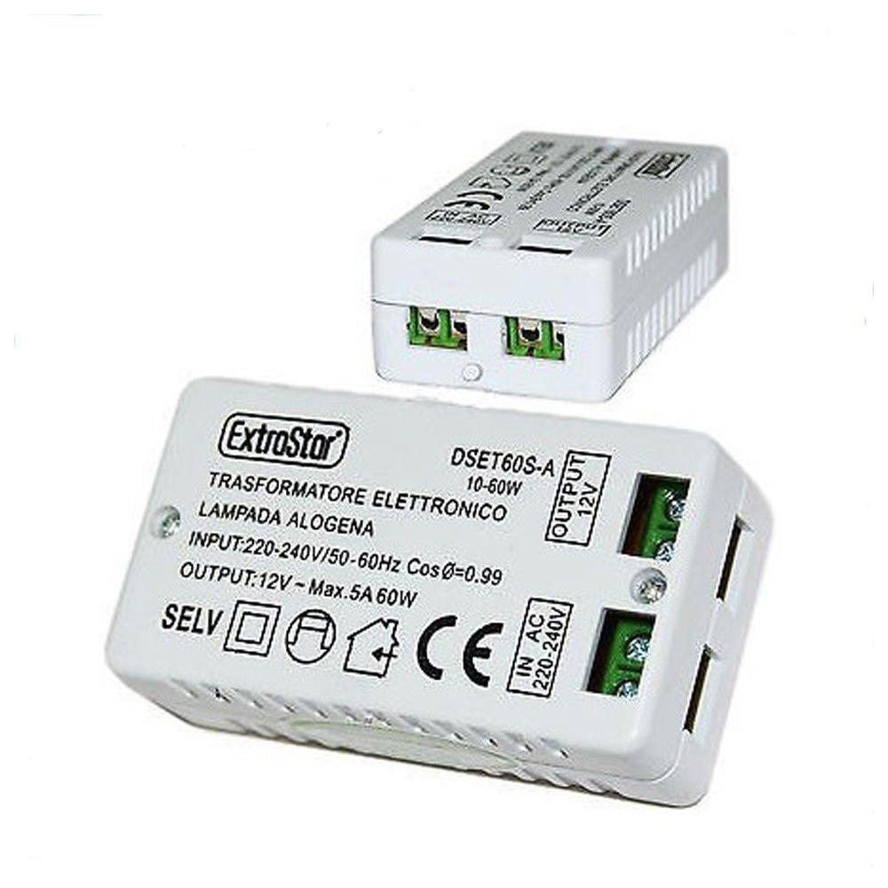 LScommerce® - DSET60S-A - Transformateur électronique pour lampe halogène 220V, 12V, 5A, 60W, 60Hz, 240V