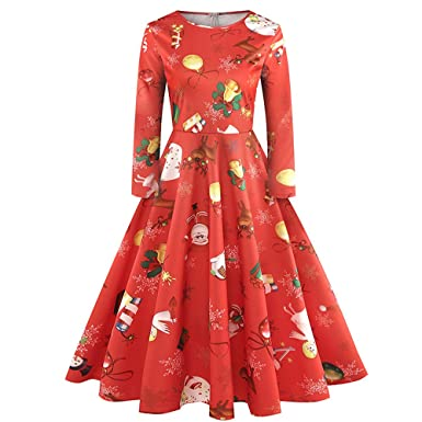 4Clovers Christmas Dress, Vintage Women Christmas Printing Zipper Empire Waistline Ball Gown