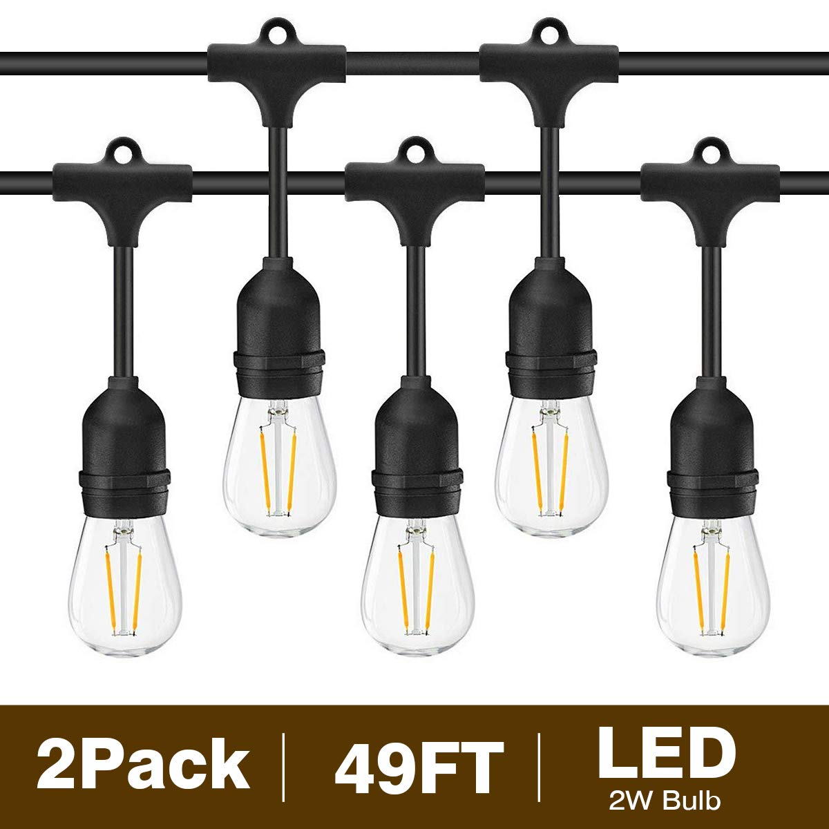 Svater 2 Pack S14 LED String Lights 49Ft Waterproof IP65 Commercial Grade Outdoor String Light UL Listed 15 Hanging Sockets 15 S14 2W LED Bulbs E26 Base Warm White 2700K Open-air party Patio
