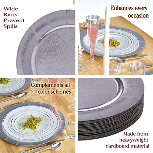 DISPOSABLE ROUND CHARGER PLATES - 20pc (Metallic/Silver) by Silver Spoons (Image #3)