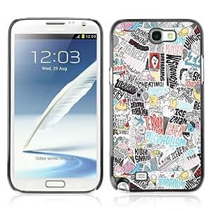 CaseCaptain Carcasa Funda Case - Samsung Galaxy Note 2 II / Cool Psychedelic Colorful Pattern /