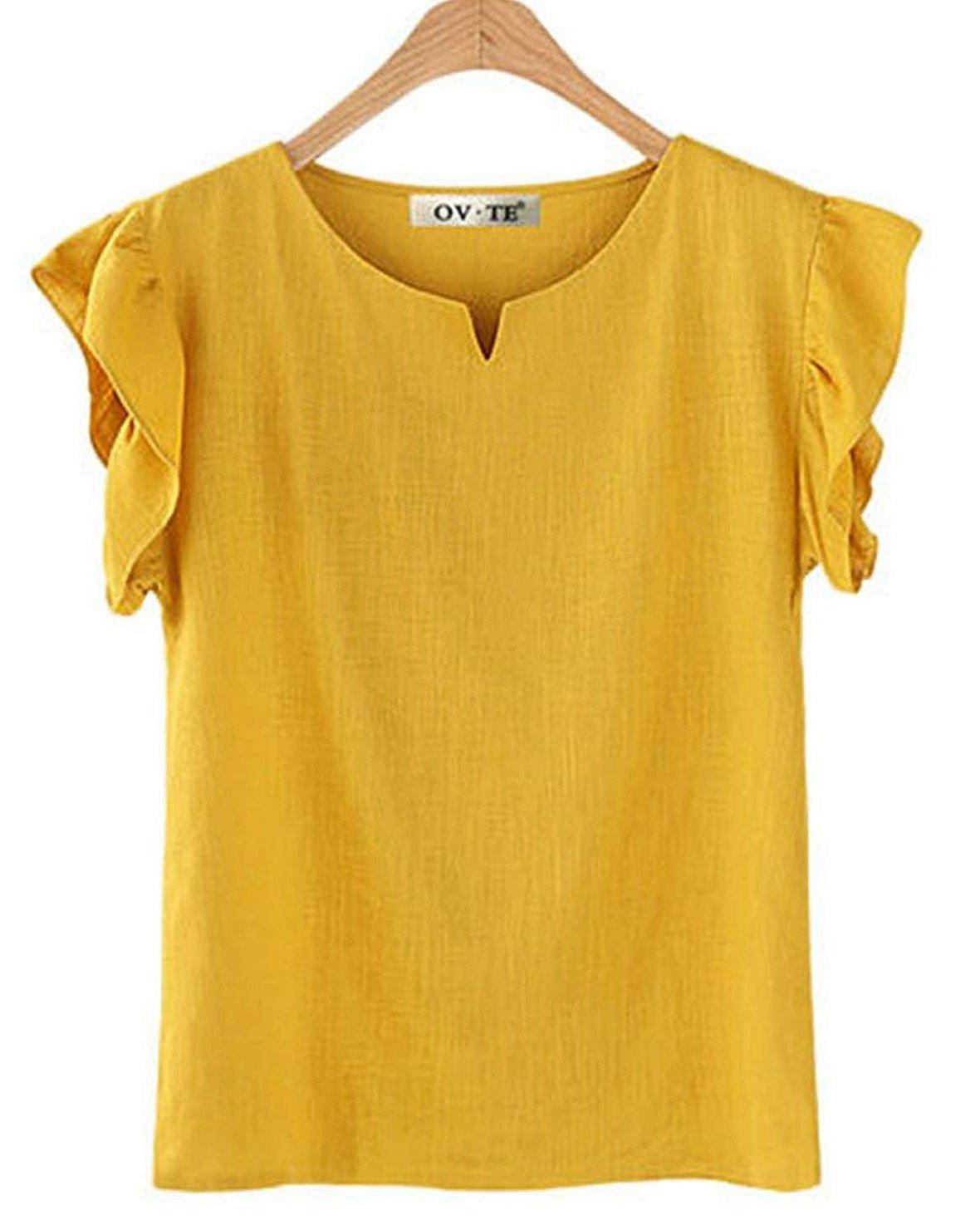 VenuStar Womens T-Shirt Tops Summer Ruffle Short Sleeve Chiffon Blouse (M, B-Yellow)