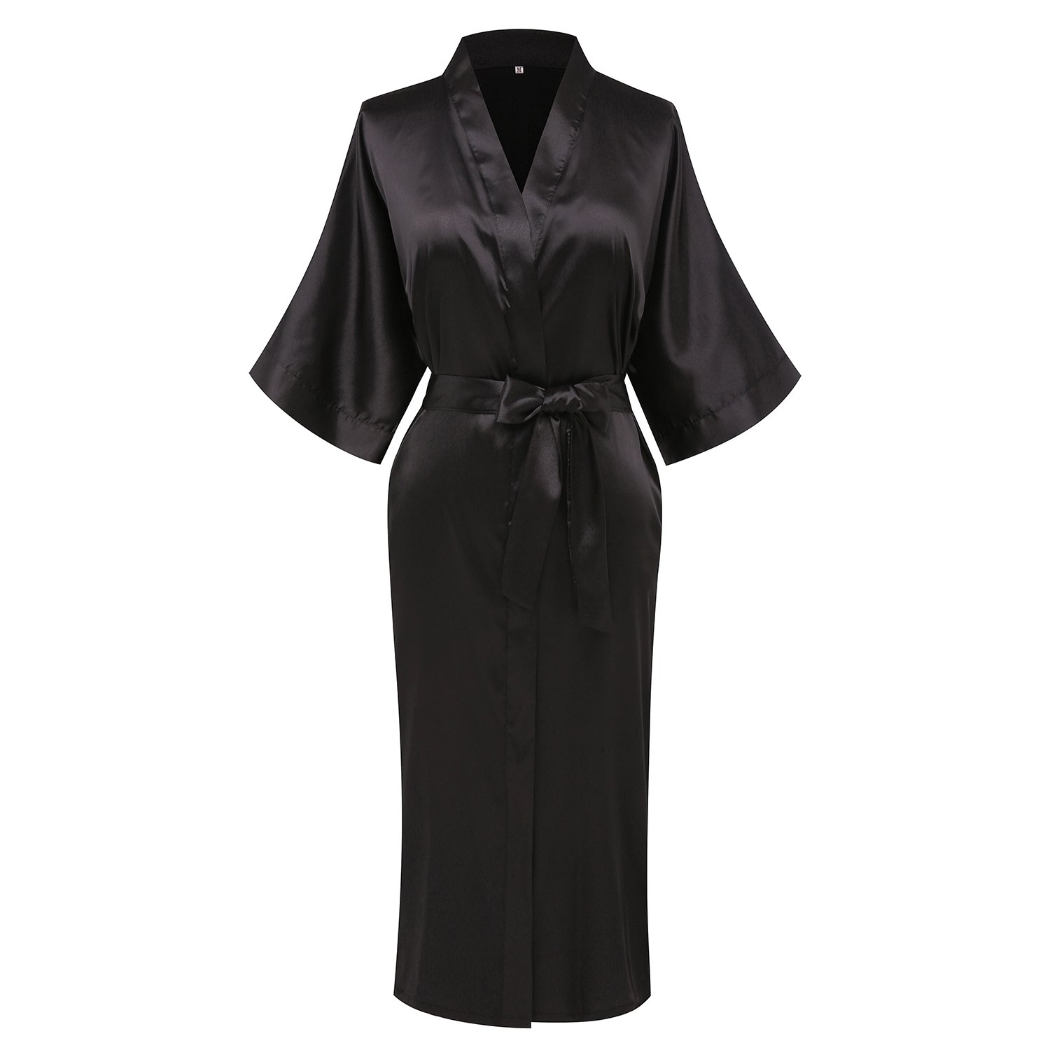 Pure Black3 goodmansam Women's Simplicity Style Nightwear Elegant Kimono Robes, Long