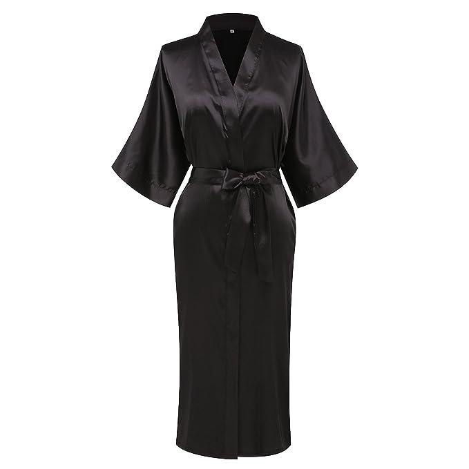 2674773923 WitBuy Women s Solid Silk Dressing Gown Bathrobe Sleepwear Nightwear ...