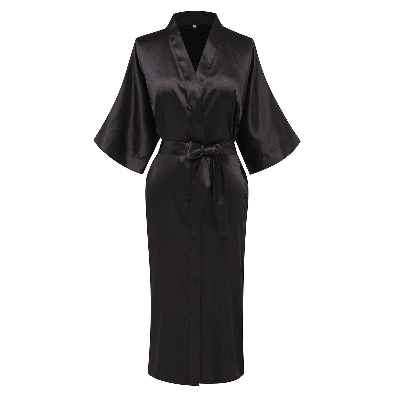 Goodmansam Women's Simplicity Style Nightwear Elegant Kimono Robes, Long,X-Large,Pure Black3