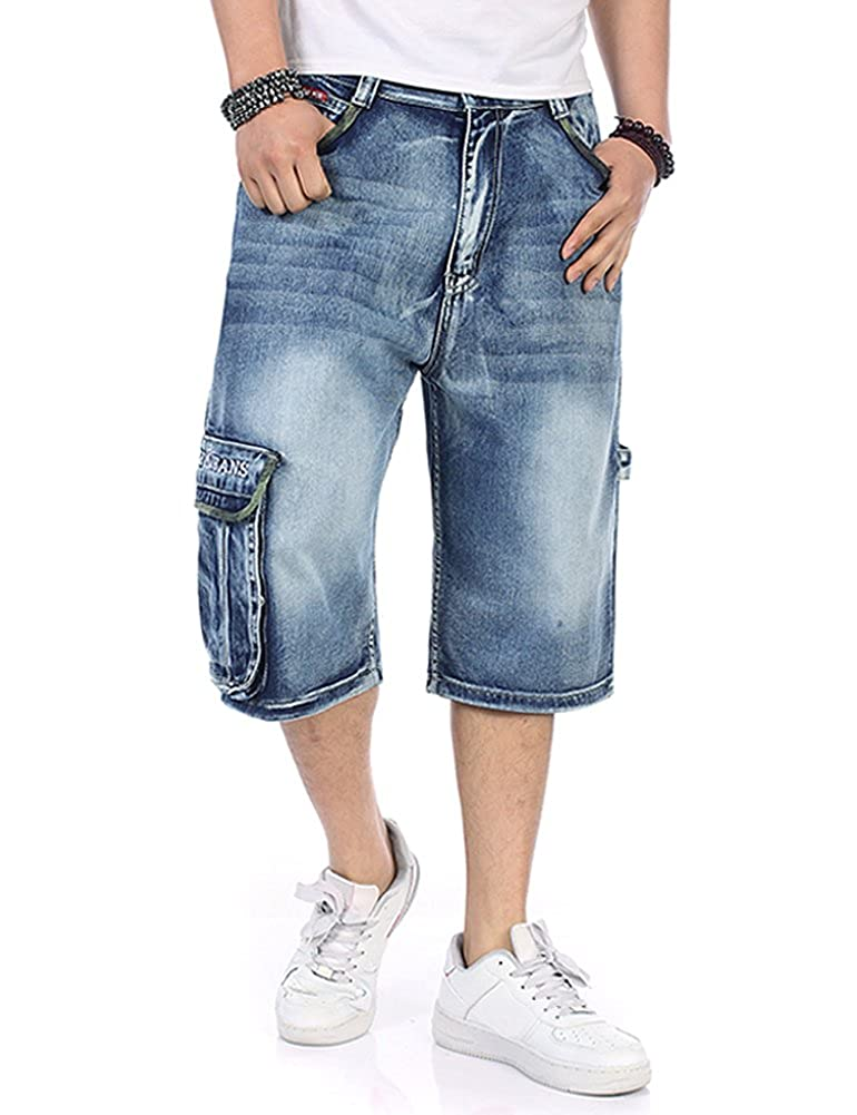 c4ed0f96de0 P-BIGG Mens Jeans Shorts Cargo Denim Shorts Big and Tall Loose Fit Plus Size  W29-45 (US31 Tag32