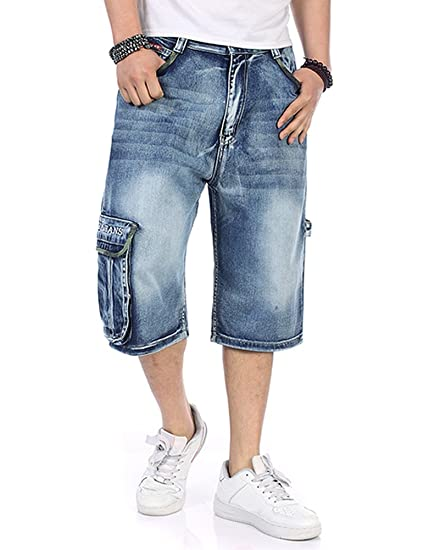 P BIGG Mens Jeans Shorts Cargo Denim Shorts Big and Tall Loose Fit Plus Size W29 W45