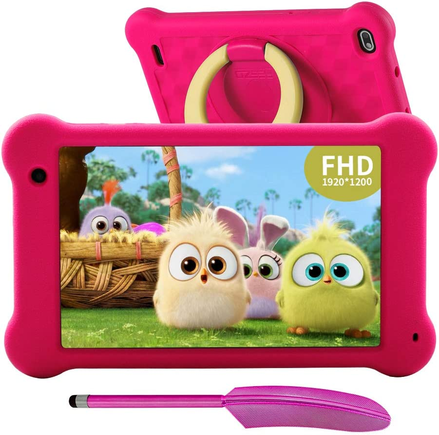 AEEZO Kids Tablet 7 inch WiFi Android 10 Tablet PC 2020 New FHD 1920x1200 IPS Screen, 2GB RAM 32GB ROM, Parental Control, Kidoz Installed, Eye Protection Anti Blue Light Screen Prime (Pink)