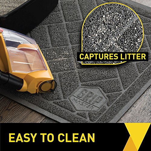 GRIP MASTER Durable Premium Cat Litter Mat, 35x23, Highly Effective, XL Jumbo, No Phthalate, Water Resistant, Traps Litter from Box and Cats, Scatter Control, Mats Soft on Kitty Paws, Graphite