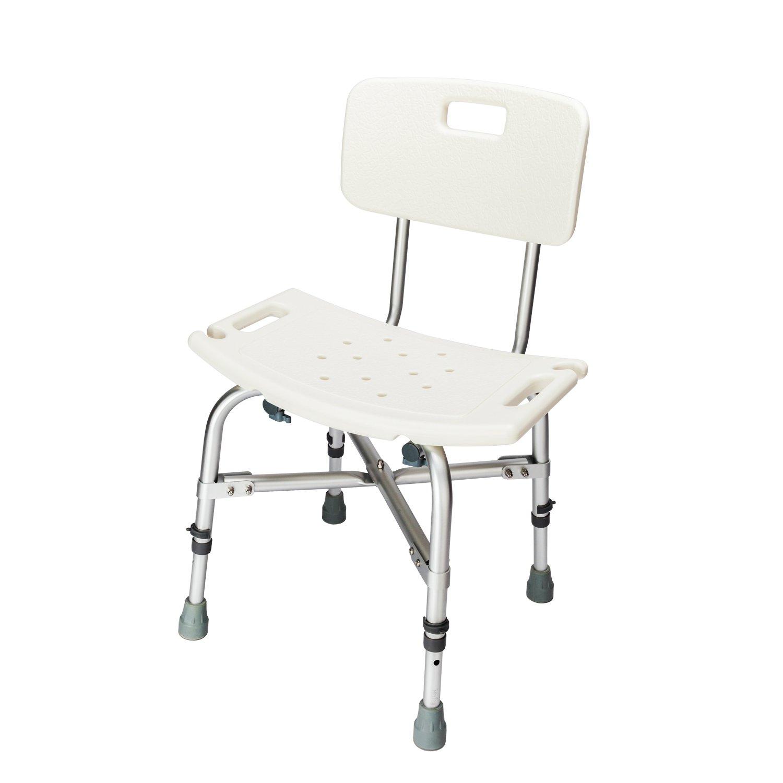 Heavy-duty Aluminum Alloy Elderly Bath Chair with Backrest White