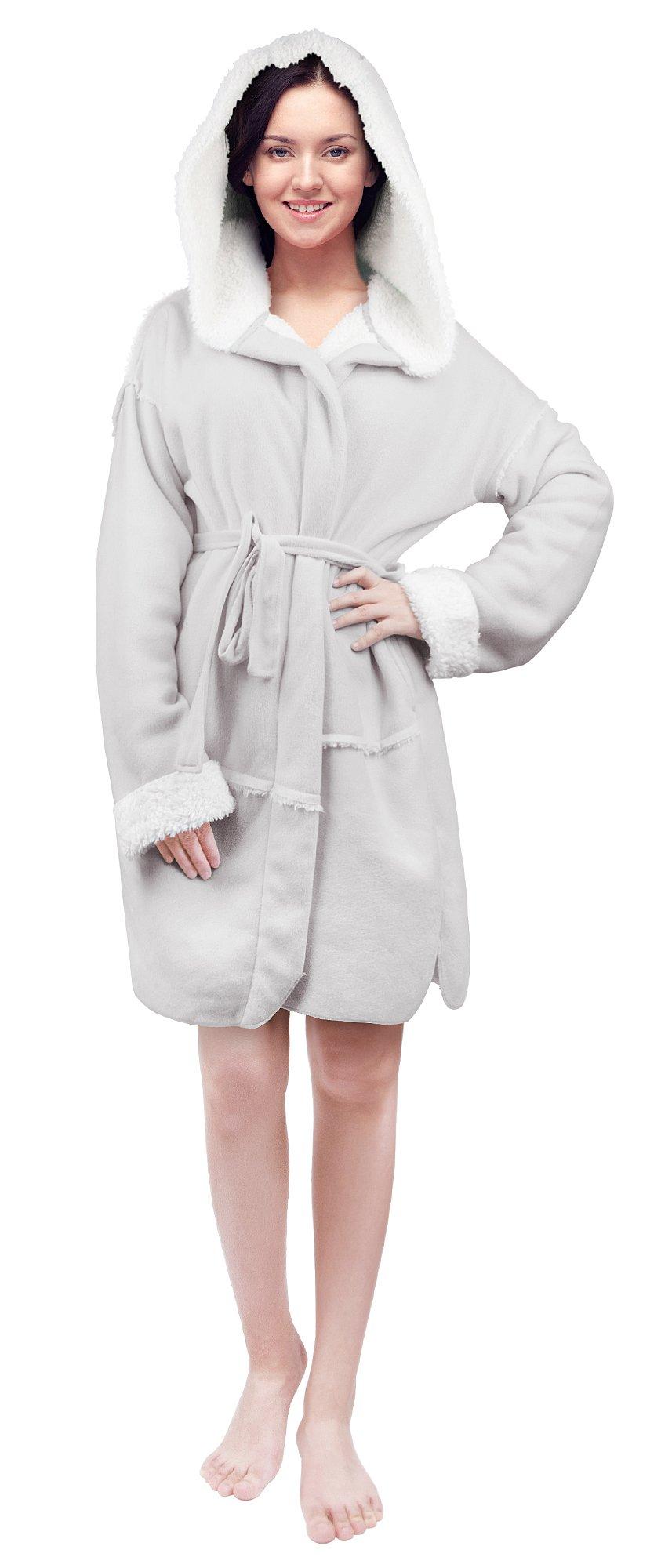Tirrinia Womens Short Sherpa Robe Plush Hooded Bathrobe With Pockets Pajama Gey
