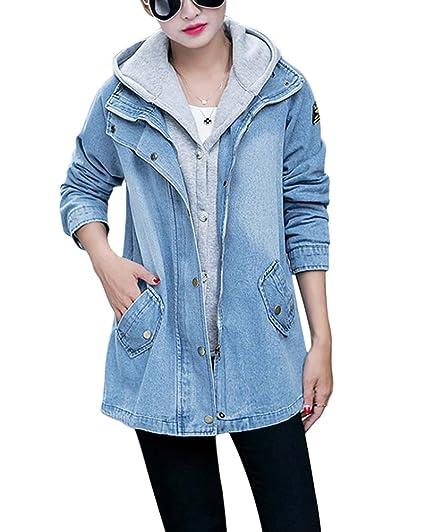 1e2bec2f31d8 Femme Manteaux à Capuche Gilet Jean Blouson Hiver Hoodie Veste Jacket Denim  Jean-Coat Casual