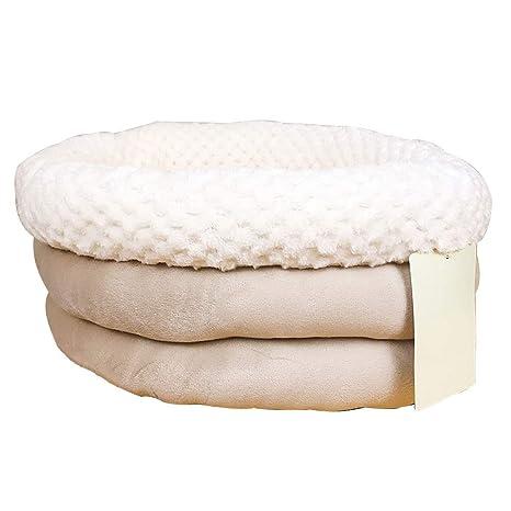 Cama para Perros Gato Doble Circular Corta Felpa cojín para Mascotas Sleeping Mat Cat Cushion -