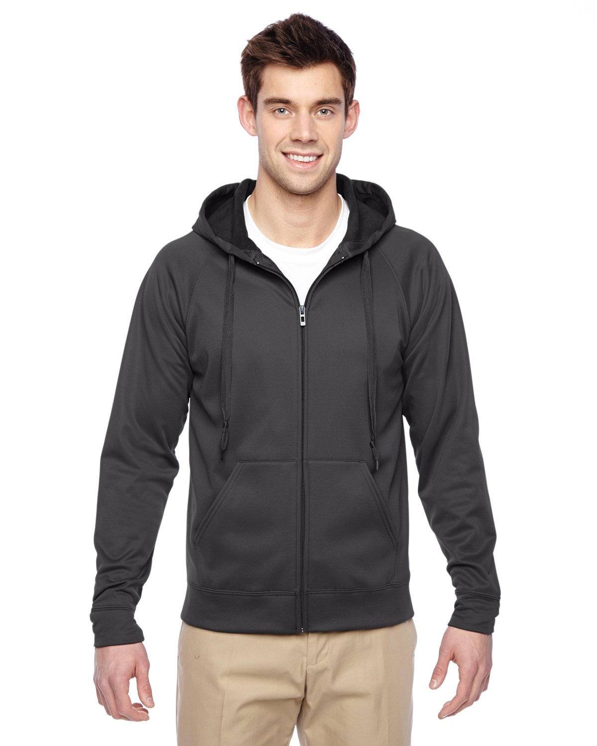 Jerzees Sport Tech Fleece Adult Full-Zip Hood (Stealth) (XL)