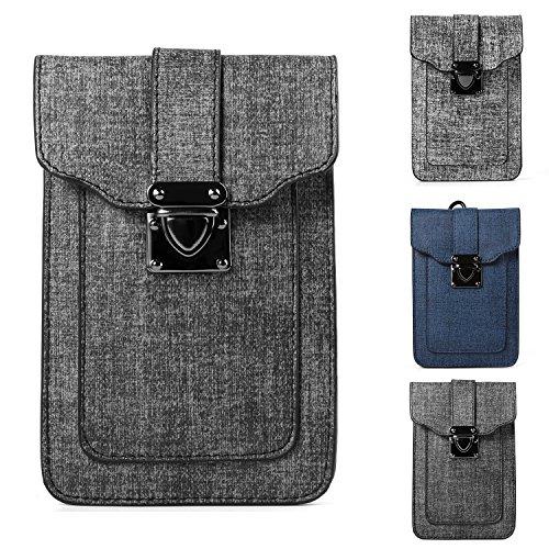 Hawkeye Belt (Women's Mini Shoulder Bag Belt Clip Pouch for Apple iPhone X / 8 7 Plus / ZTE Nubia Z17 / Z17 Mini / Blade X Max / Max 3 / A2 Plus / V8 / V8 Pro / Max XL / Axon 7S / Hawkeye/ OnePlus 5 3T (Dark Grey))