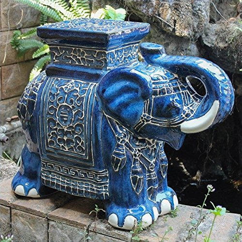 International Caravan VHO16A-C-LG-VB-IC Furniture Piece Large Porcelain Elephant Stool ()