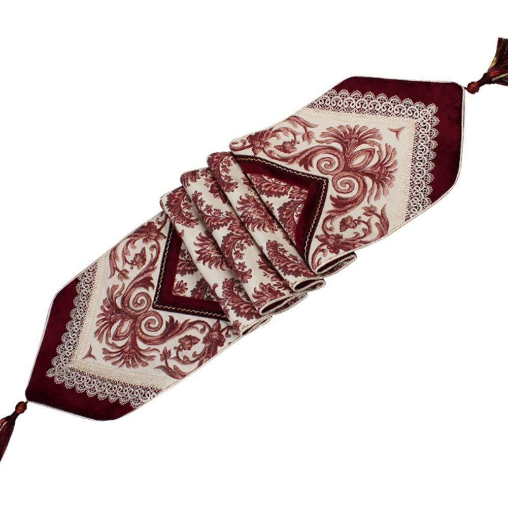 DEED Tovaglia-Ricamo di lusso della tovaglia del tessuto della tovaglia di stile europeo del panno da tavolo di qualità superiore,D, 32x220cm (13x87inch)