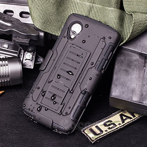 LG Nexus 5 Case, Cocomii Robot Armor NEW [Heavy Duty] Premium Belt Clip Holster Kickstand Shockproof Hard Bumper Shell [Military Defender] Full Body Dual Layer Rugged Cover Google D820 D821 (Black)