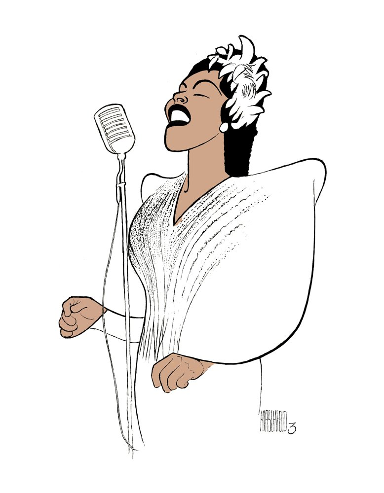 AL HIRSCHFELD Hand Signed, BILLIE HOLIDAY,LADY DAY. Limited-Edition Lithograph THE MARGO FEIDEN GALLERIES LTD. New York