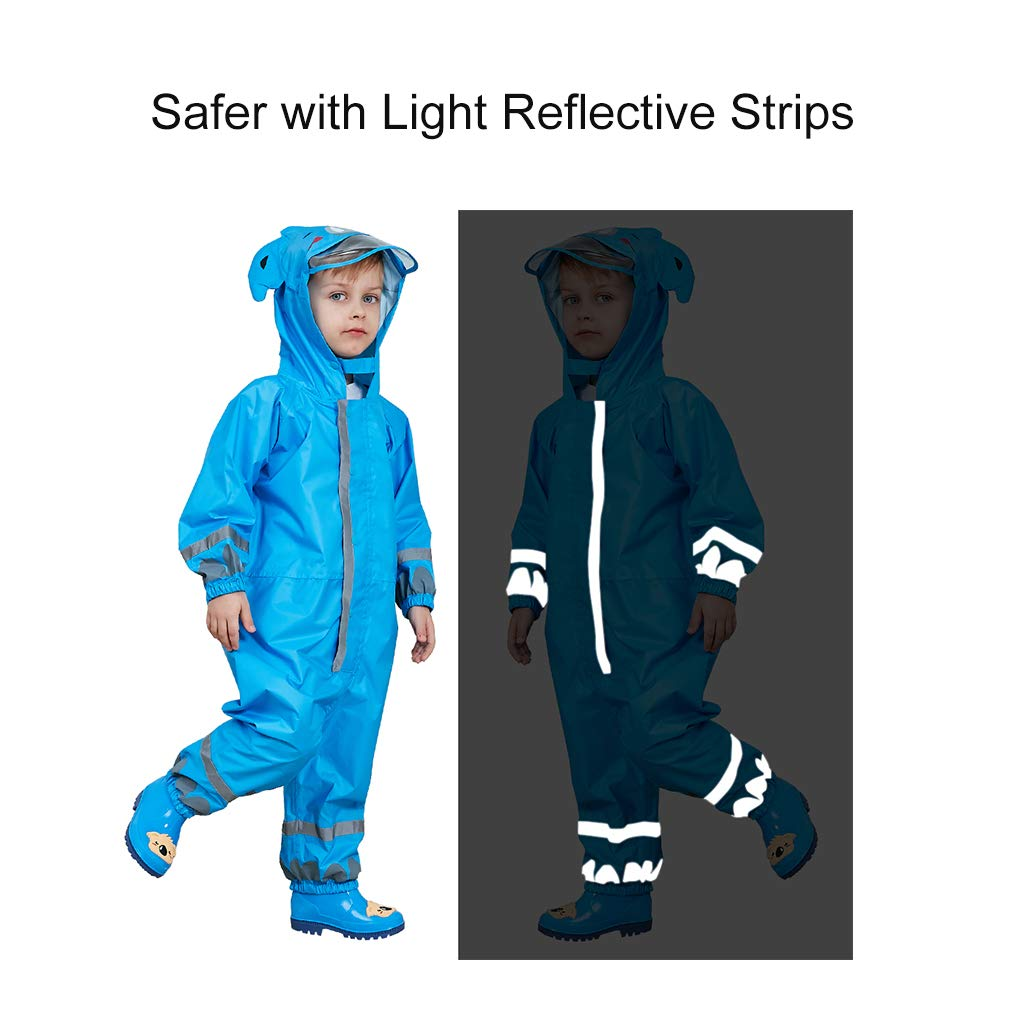 DAWNTUNG Kids Waterproof Rain Suit Relective Cartoon Lightweight Rain Coat