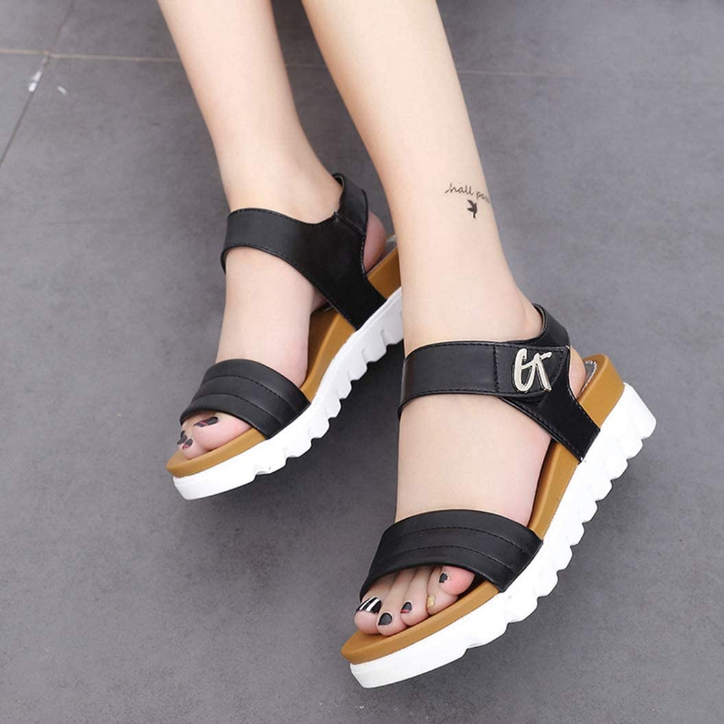 Kyle Walsh Pa Women Sandals Summer Wedges Laides Buckle Buckle Black White Comfortable Casual Female Beach Sandals