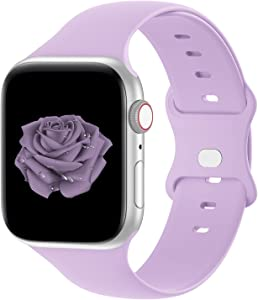 Bandiction Compatible with Apple Watch Series 3 38mm Series 5 40mm iWatch Bands 42mm 44mm, Soft Silicone Sport Replacement Strap Compatible for iWatch Series 6 SE 5 4 3 2 1, Pink Purple, 38/40mm