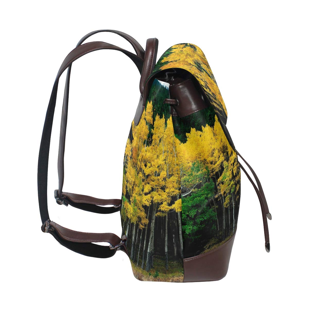 PU Leather Shoulder Bag,Autumn Yellow Green Trees Backpack,Portable Travel School Rucksack,Satchel with Top Handle