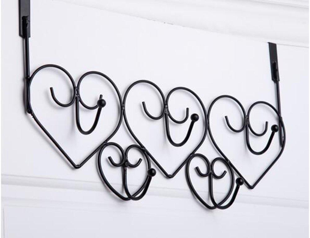 Hook up Porta del ferro dopo i vestiti a sospensione multifunzionale senza chiodi appendenti oggetti legati al cuore dopo il gancio (Colore : Nero) CivilWeaEU